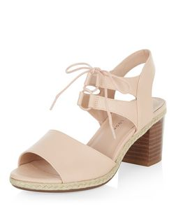 Teens Stone Leather-look Block Ghillie Heels | New Look