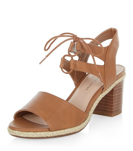Teens Tan Leather-look Block Ghillie Heels | New Look