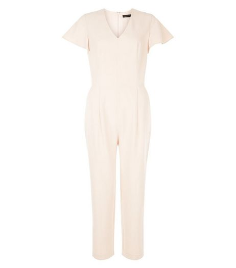 Shell Pink Flutter Sleeve Jumpsuit  | New Look