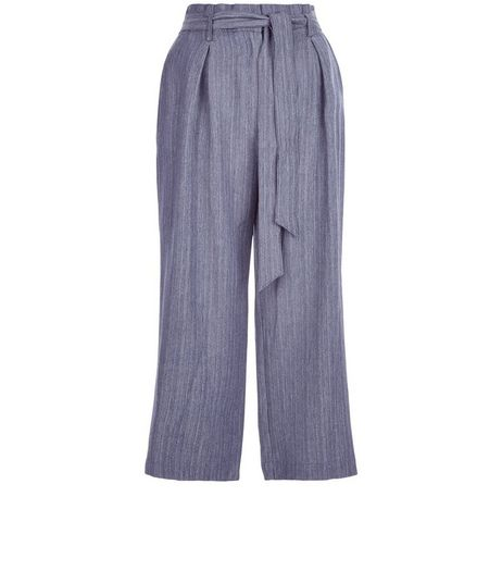 Blue Linen Stripe Culottes  | New Look