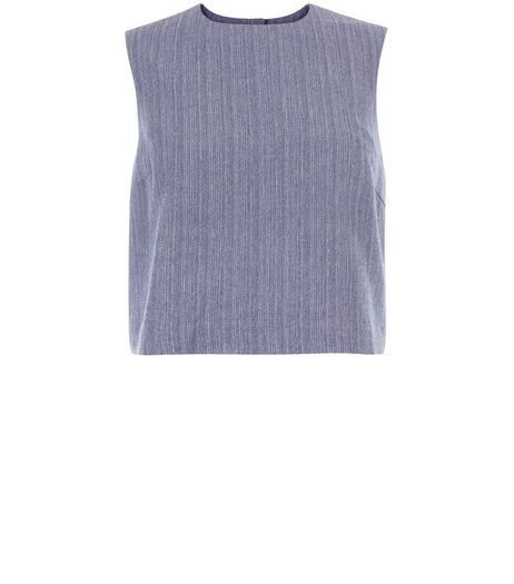 Blue Linen Stripe Sleeveless Top  | New Look
