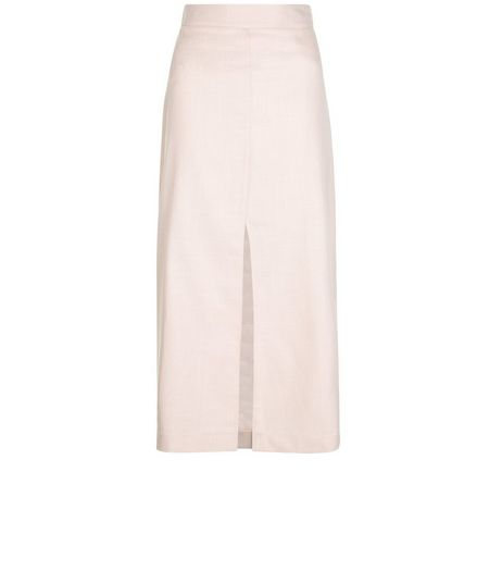 Shell Pink Split Front Midi Skirt  | New Look