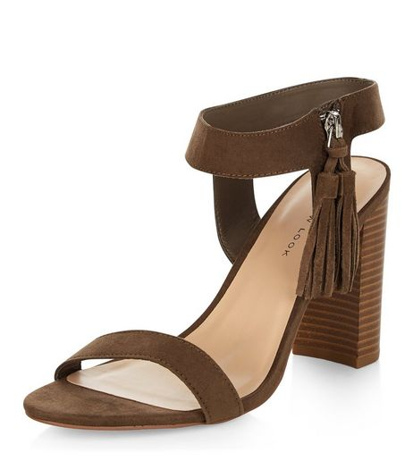 Wide Fit Khaki Suedette Tassel Trim Block Heel Sandals  | New Look
