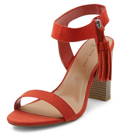 Wide Fit Orange Suedette Tassel Trim Block Heel Sandals  | New Look