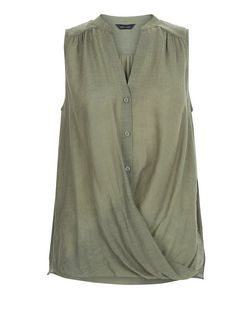 Khaki Button Wrap Front Sleeveless Shirt  | New Look