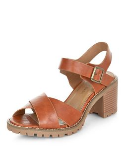 Wide Fit Tan Cross Strap Heeled Sandals  | New Look