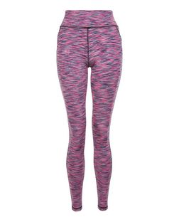 Pink Space Dye Sports Leggings  | New Look