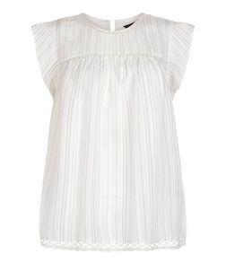 White Stripe Ruffle Sleeve Top  | New Look