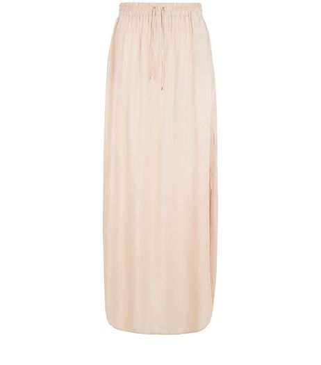 Shell Pink Split Side Maxi Skirt | New Look