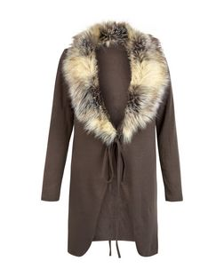 Loving This Brown Faux Fur Trim Cardigan | New Look