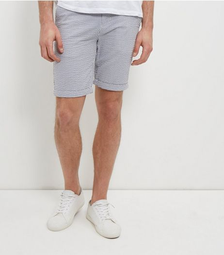 Blue Stripe Turn Up Shorts | New Look