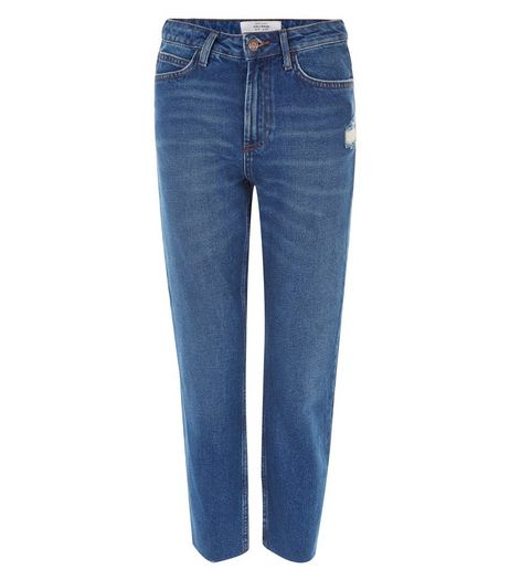 Blue Raw Hem Straight Leg Jeans | New Look