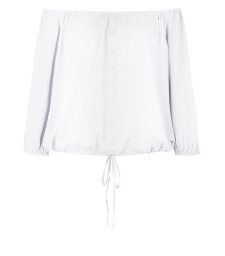 White Button Front Bardot Neck Top  | New Look