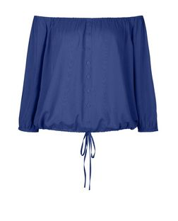Blue Button Front Bardot Neck Top | New Look