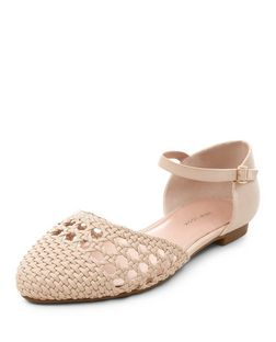 Wide Fit Cream Woven Pointed Ankle Strap Pumps  | New Look