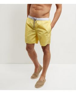 Yellow Contrast Trim Swim Shorts  | New Look