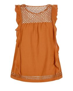 Tan Crochet Panel Ruffle Trim Top  | New Look