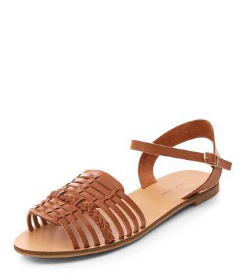 Sandalo  donna Wide Fit Tan Plaited Woven Strap Sandals