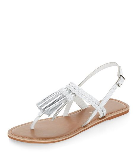 Wide Fit White Leather Tassel Plaited Strap Sandals  | New Look