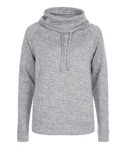 Grey Cowl Neck Sports Jumper  | New Look
