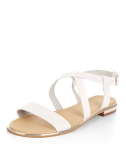Wide Fit White Cross Strap Sandals  | New Look