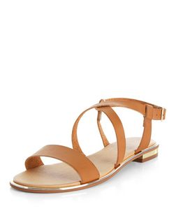Wide Fit Tan Cross Strap Sandals  | New Look