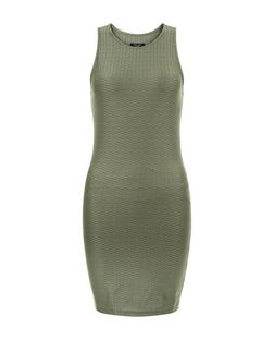 Petite Khaki Textured Bodycon Dress | New Look