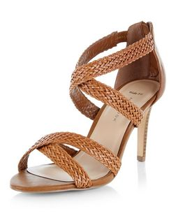 Wide Fit Tan Leather-Look Plaited Cross Strap Heels | New Look