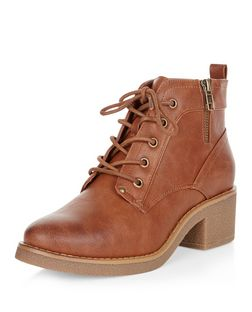 Tan Faux Leather Contrast Lace Up Boots  | New Look