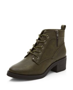Khaki Faux Leather Contrast Lace Up Boots | New Look