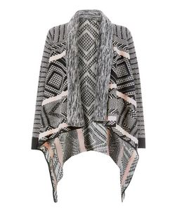 Mela Grey Aztec Print Cardigan | New Look