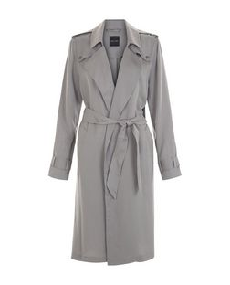 Grey Drape Trench Coat  | New Look