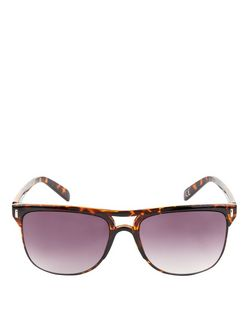 Brown Tortoiseshell Print Pilot Sunglasses  | New Look