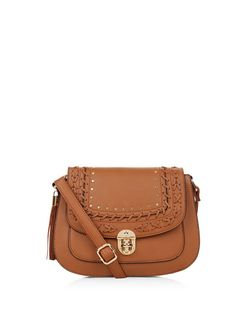 Tan Stitch Trim Saddle Bag  | New Look