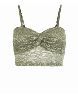 Khaki Floral Lace Ruched Strappy Bralet  | New Look