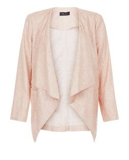 Shell Pink Textured Waterfall Blazer  | New Look