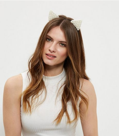 White Pearl Cat Ears Headband  | New Look