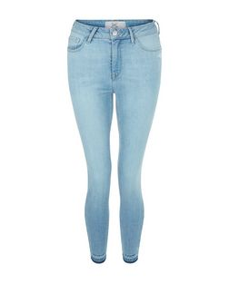 Light Blue Fray Hem Skinny Jeans | New Look