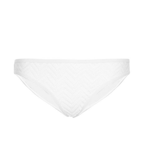 White Zig Zag Crochet Bikini Bottoms | New Look