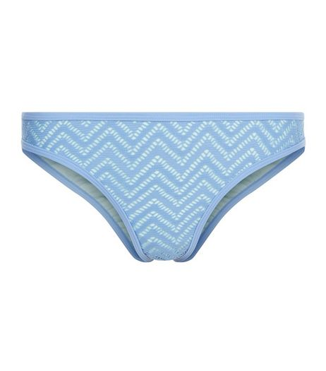 Blue Zig Zag Crochet Bikini Bottoms  | New Look