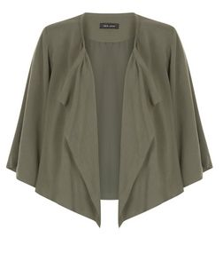 Khaki Flutter Sleeve Waterfall Blazer | New Look