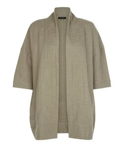 Khaki Textured 1/2 Sleeve Blazer  | New Look
