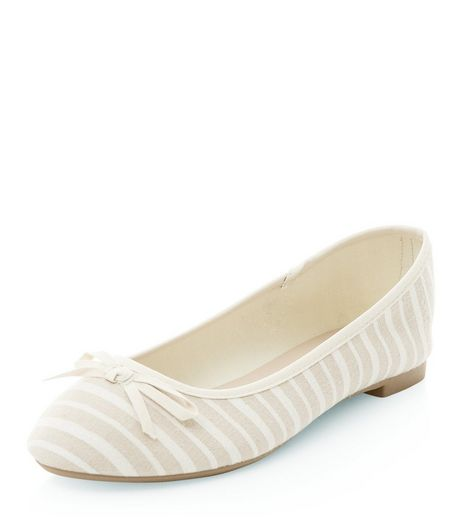Cream Stripe Ballet Pumps | New Look