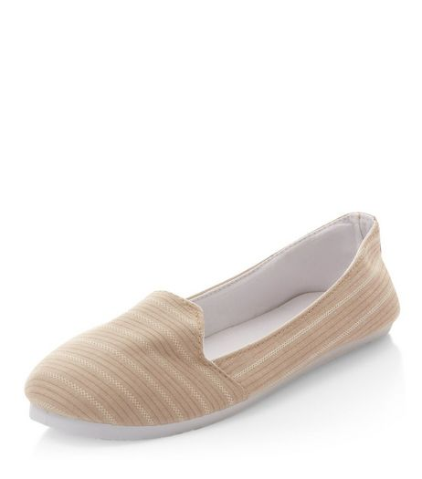 Cream Stripe Slip On Plimsolls  | New Look