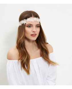 Pink Lace Chiffon Flower Headband | New Look