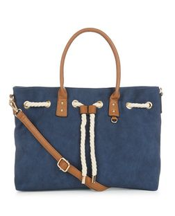 Blue Drawstring Rope Tote Bag | New Look