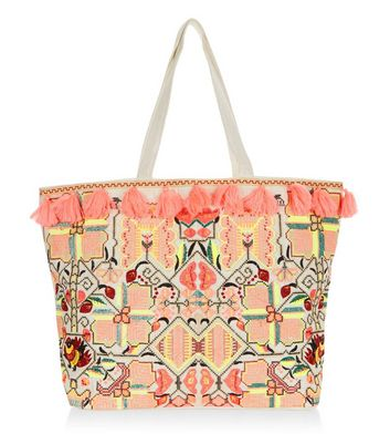 Orange Tassel Embroidered Tote Bag