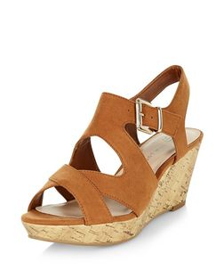 Teens Tan Suedette Cross Strap Wedges  | New Look