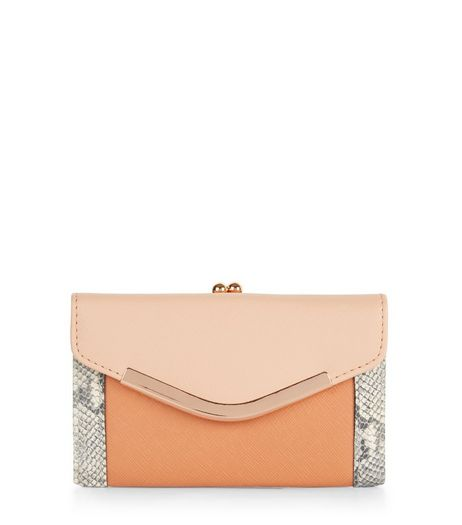 Stone Colour Block V Flap Purse  | New Look