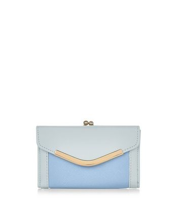 Blue Colour Block V Flap Purse